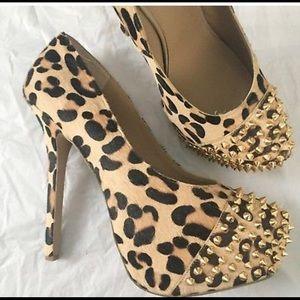 Steve Madden Calf Hair Leopard Studded Heels